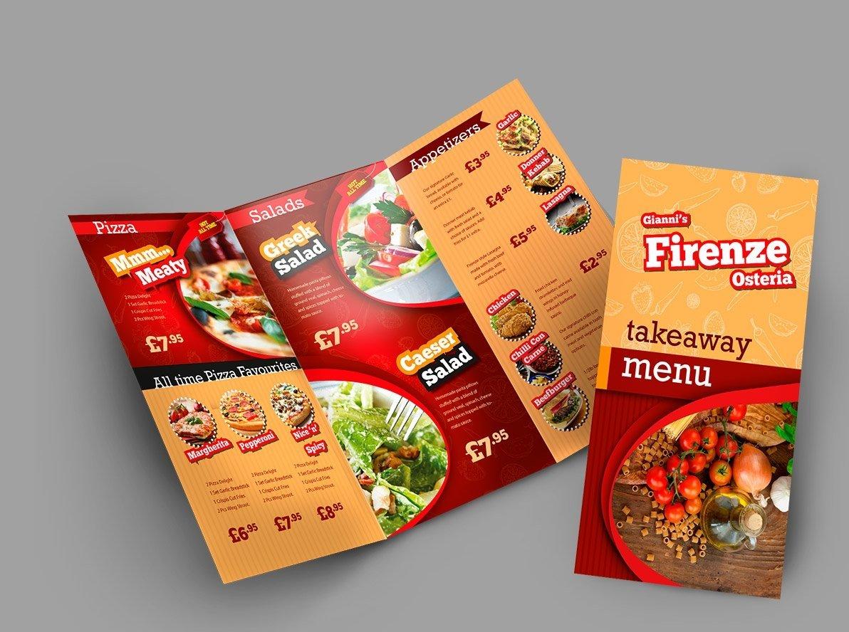 Folded Menu Leaflets