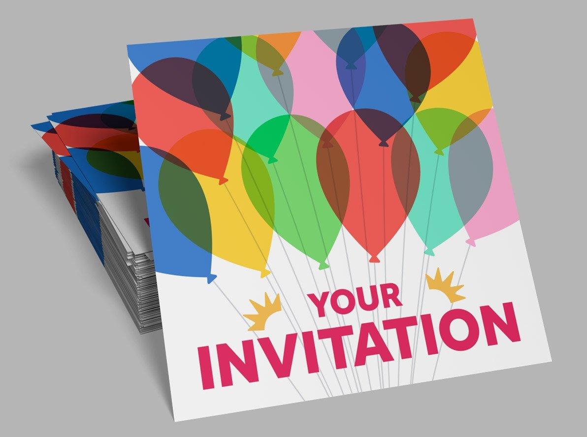 Flat Birthday Party Invitations