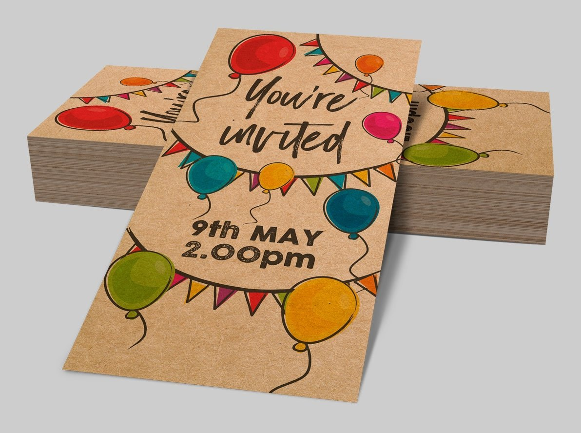 Brown Kraft Birthday Party Invitations