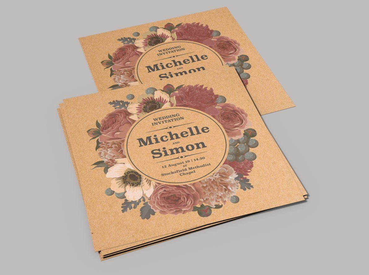Flat Brown Kraft Wedding Invitations