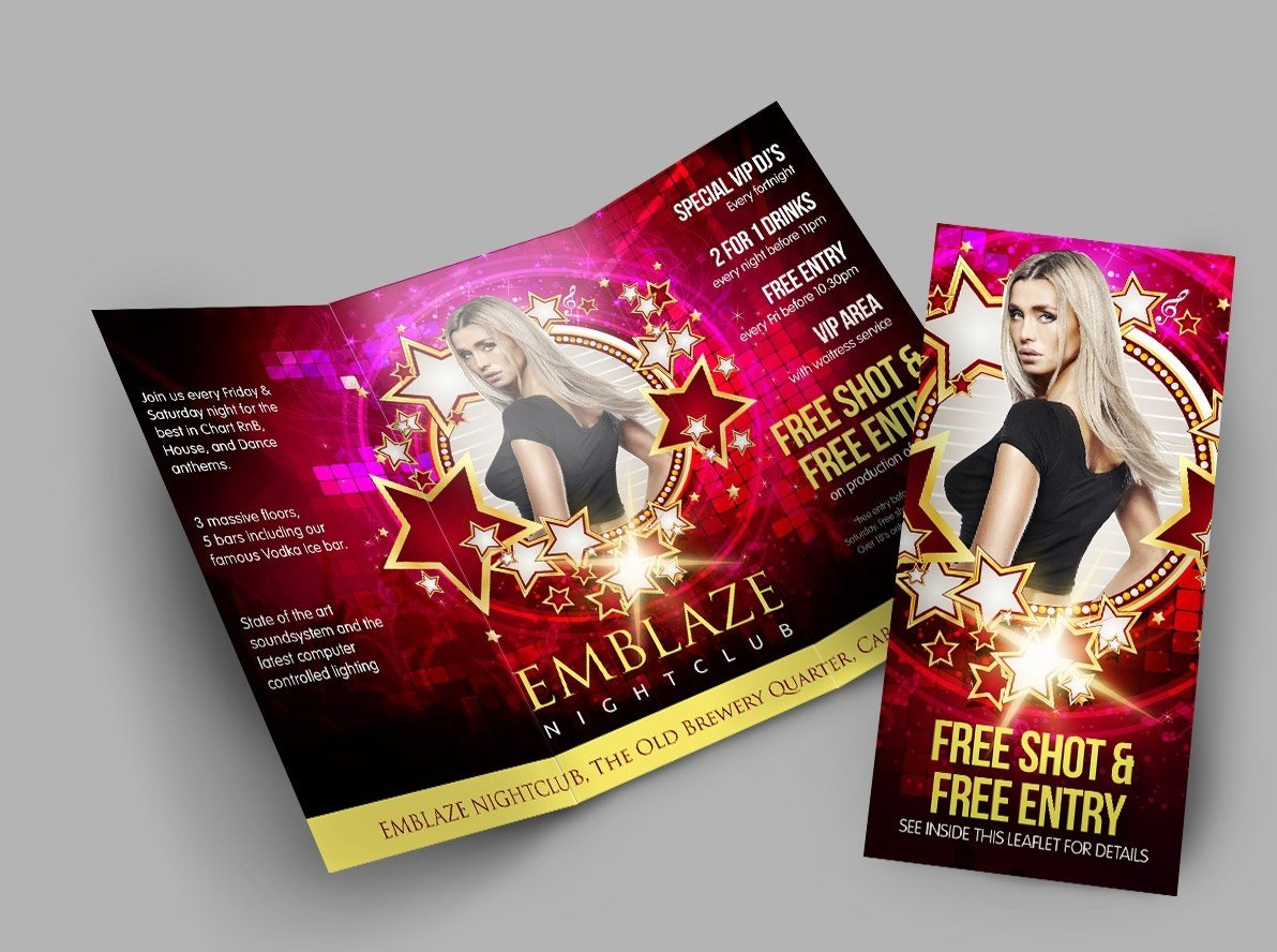 Folded Bar and Nightclub Leaflets and Flyers