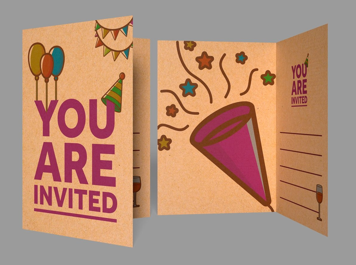 Folded Brown Kraft Children's Party Invitations