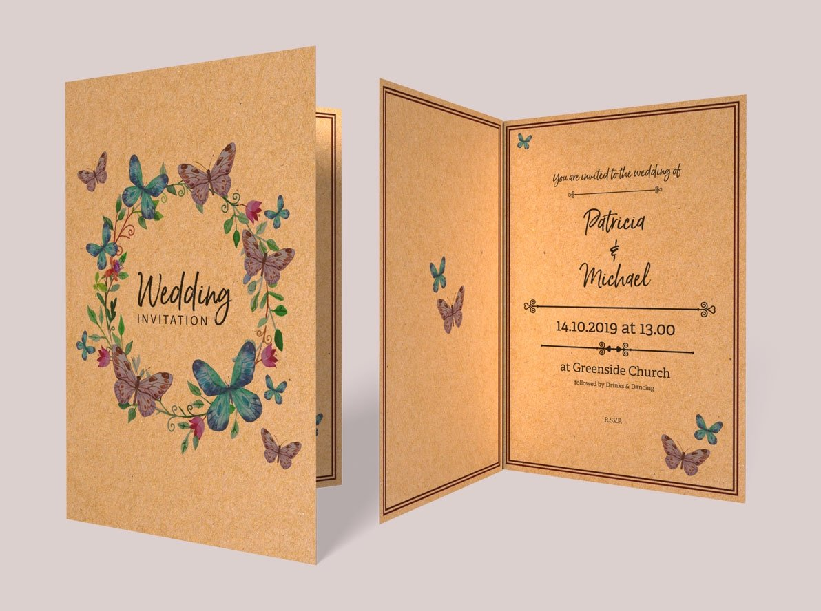 Folded Brown Kraft Wedding Invitations