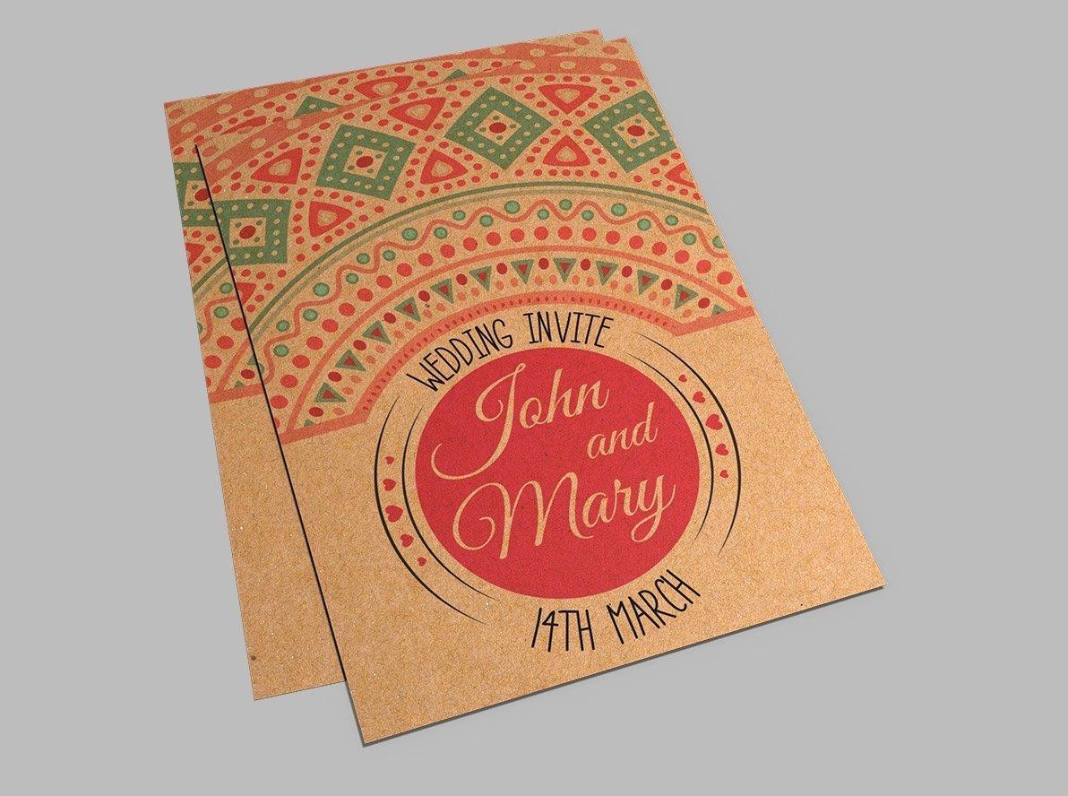 Flat brown kraft wedding reception invitations