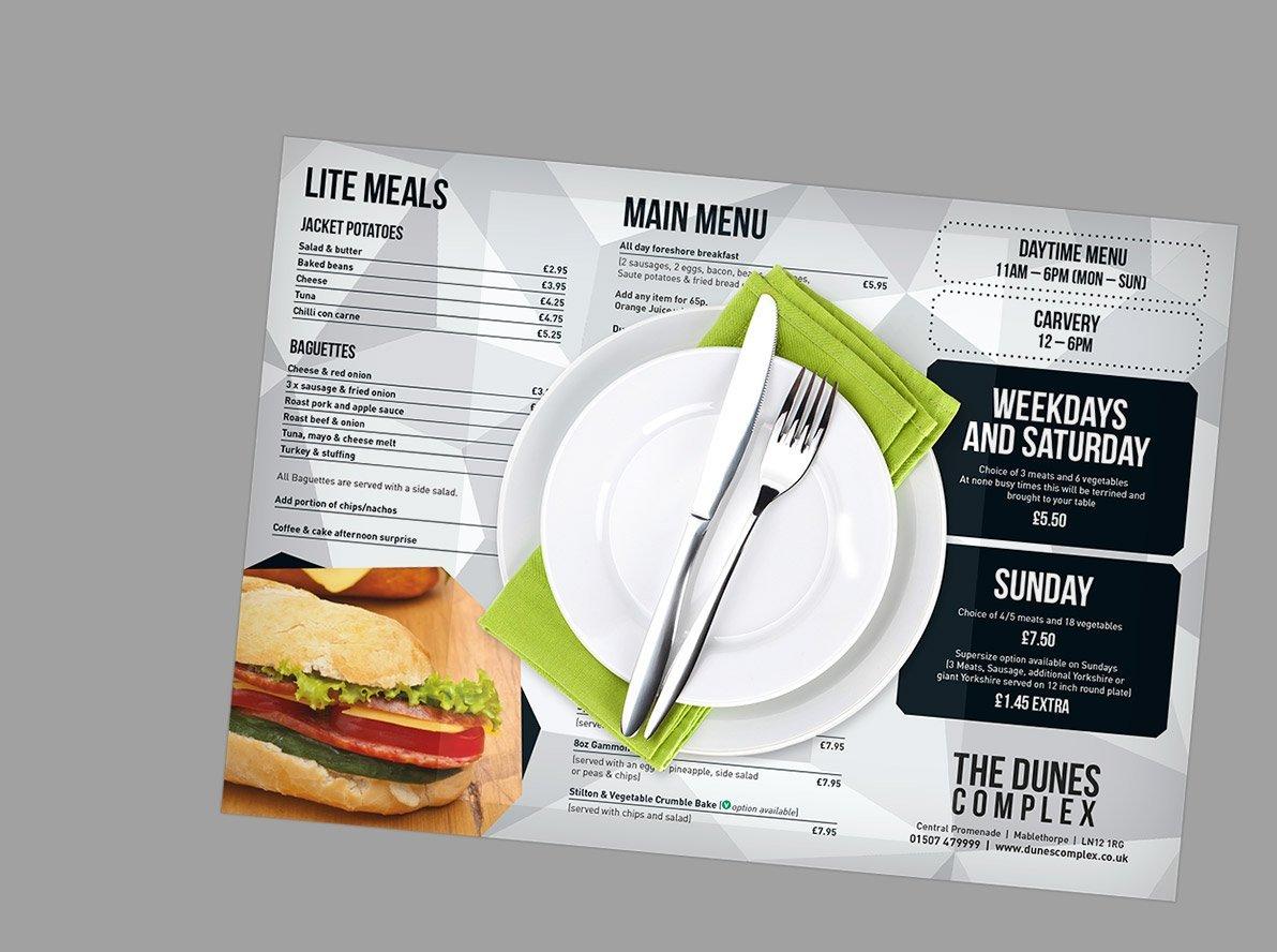 Placemat menus