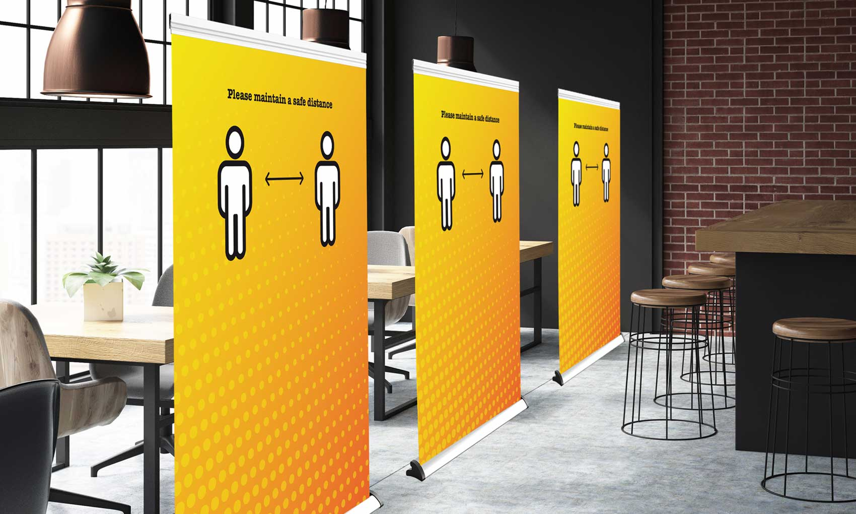 Roller banner divider screens provide a temporary physical barrier between tables