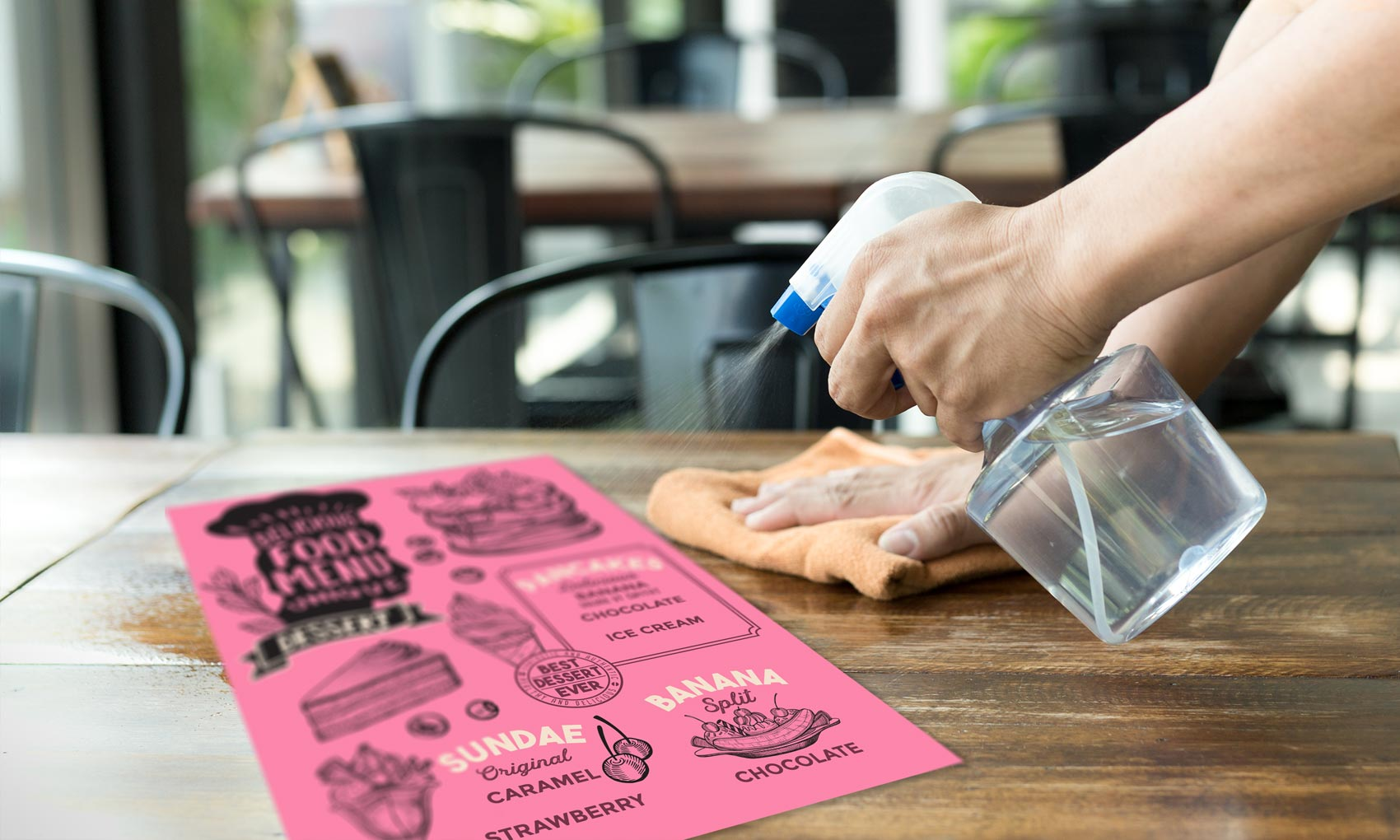 Plastic menus which can be washed and sanitised between uses