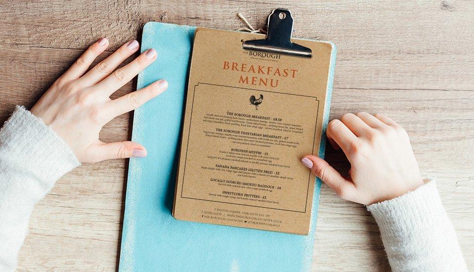 printed pub menus