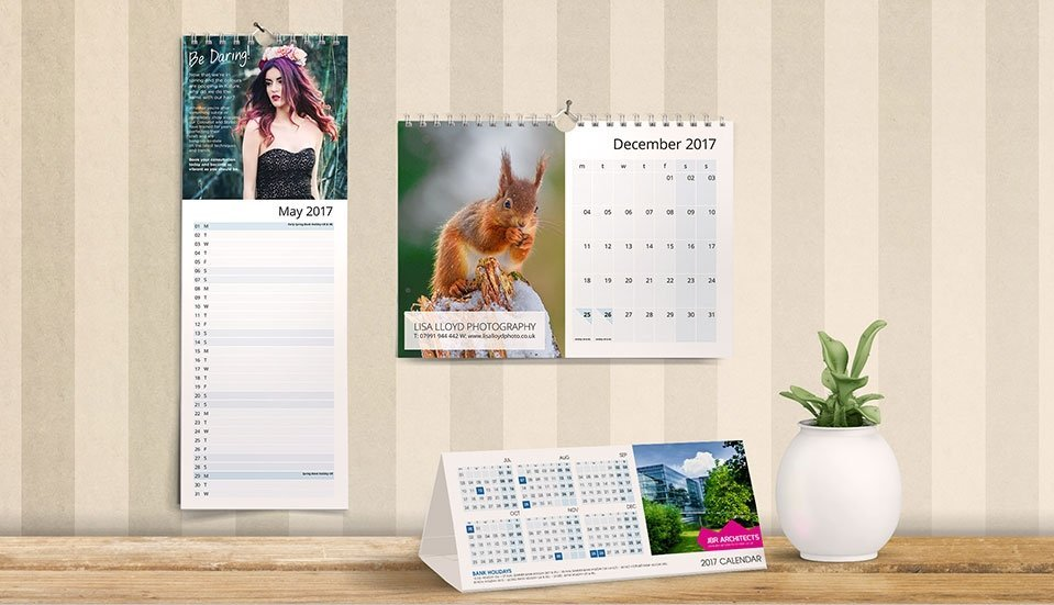 printed wire-bound calendars