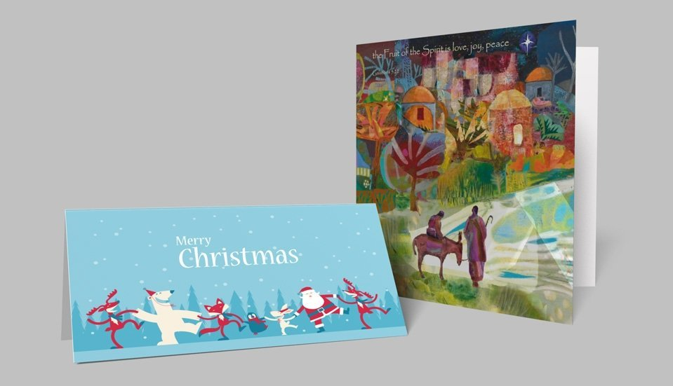 Business christmas cards stressfreeprint printed onto premium 380 micron greetings card board our retail quality christmas cards are available in a choice of standard sizes from a5 to dl reheart Images
