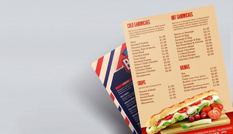 menu leaflet printing